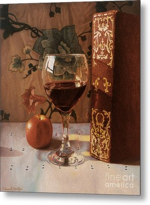 Wine Glass And Red Book Metal Print by Daniel Montoya