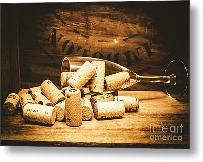 Wine Glass With An Assortment Of Bottle Corks Metal Print by Jorgo Photography - Wall Art Gallery