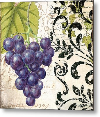 Wine Grapes And Damask Metal Print by Mindy Sommers