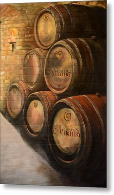 Metal Print featuring the painting Wine In The Barrels - Chateau Meichtry by Jan Dappen