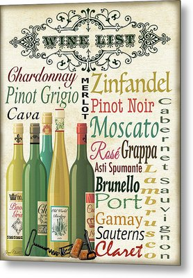 Wine List Art-jp3572 Metal Print by Jean Plout
