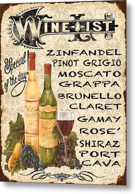Wine List-jp3588 Metal Print by Jean Plout