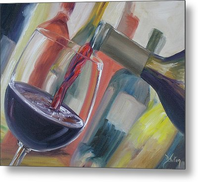 Wine Pour Metal Print by Donna Tuten
