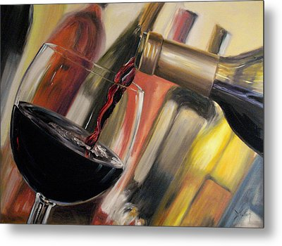 Metal Print featuring the painting Wine Pour II by Donna Tuten