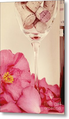 Wine With Camellia Metal Print by Kim Fearheiley