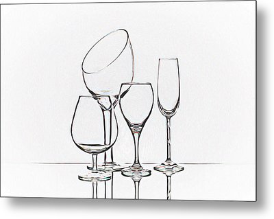 Wineglass Graphic Metal Print by Tom Mc Nemar