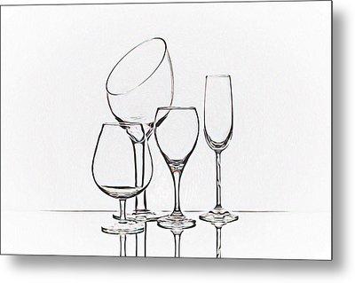 Wineglass Graphic Metal Print