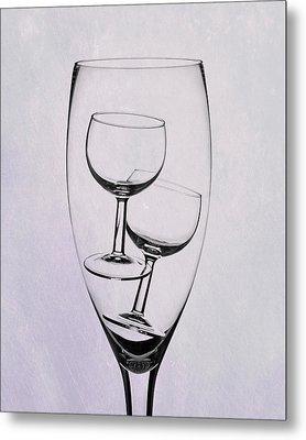 Metal Print featuring the photograph Wineglass Trio by Tom Mc Nemar