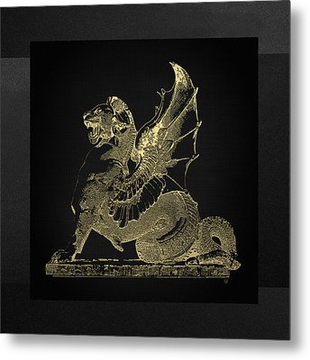 Winged Dragon Chimera From Fontaine Saint-michel, Paris In Gold On Black Metal Print by Serge Averbukh