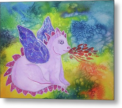 Metal Print featuring the painting Winged Dragon by Ellen Levinson