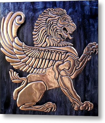 Winged Lion Metal Print by Cacaio Tavares