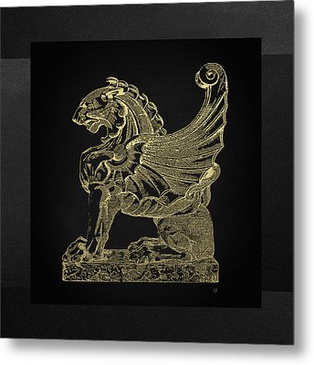 Metal Print featuring the digital art Winged Lion Chimera From Casa San Isidora, Santiago, Chile, In Gold On Black by Serge Averbukh