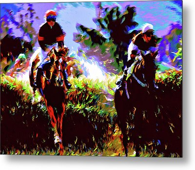 Winners Of The Horse Race Expressionism Metal Print