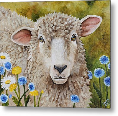 Winnie In The Wild Flowers Metal Print