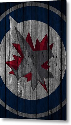 Winnipeg Jets Wood Fence Metal Print