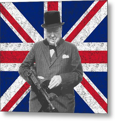 Winston Churchill And His Flag Metal Print