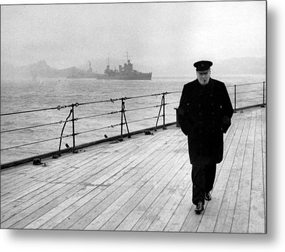 Winston Churchill At Sea Metal Print by War Is Hell Store