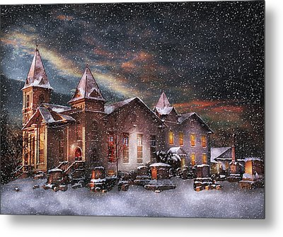 Winter - Clinton Nj - Silent Night  Metal Print by Mike Savad