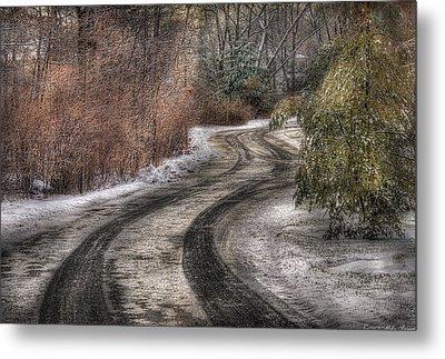 Winter - Road - The Hidden Road Metal Print by Mike Savad