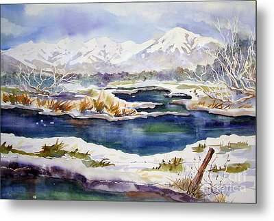 Metal Print featuring the painting Winter Airport Road by Pat Crowther