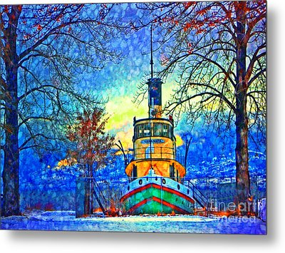 Winter And The Tug Boat 2 Metal Print by Tara Turner