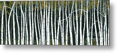 Metal Print featuring the painting Winter Aspen 3 by Michael Swanson