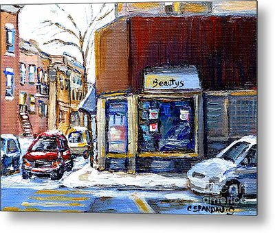 Winter At Beauty's Restaurant City Scene Landmark Paintings Montreal Memories Exceptional Canada Art Metal Print by Carole Spandau