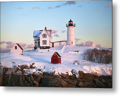 Winter At Nubble Metal Print by Eric Gendron