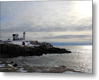 Winter At Nubble Lighthouse Metal Print by Becca Brann