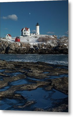 Winter At Nubble Lighthouse Metal Print by David Smith