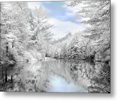 Winter At The Reservoir Metal Print by Lori Deiter