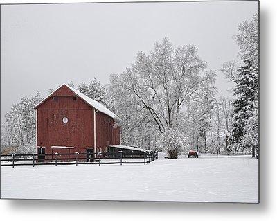 Winter Barn Metal Print by Ann Bridges