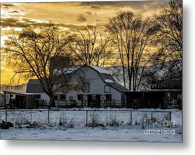 Metal Print featuring the photograph Winter Barn At Sunset - Provo - Utah by Gary Whitton