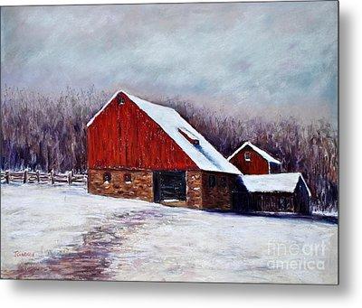 Winter Barn Bucks County Pennsylvania Metal Print by Joyce A Guariglia