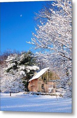 Winter Barn Scene-warren Ct Metal Print by Thomas Schoeller