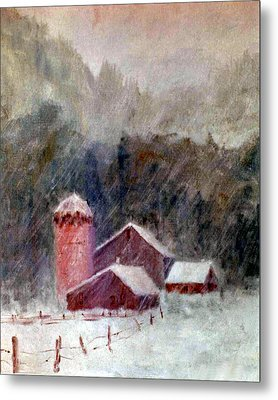 Winter Barns Metal Print