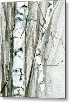 Metal Print featuring the painting Winter Birch by Laurie Rohner