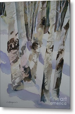 Metal Print featuring the painting Winter Birches by Sandra Strohschein