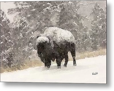 Metal Print featuring the digital art Winter Bison by Walter Chamberlain