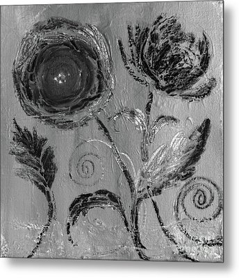 Metal Print featuring the digital art Winter Blooms IIi by Robin Maria Pedrero