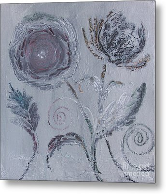 Metal Print featuring the painting Winter Blooms by Robin Maria Pedrero