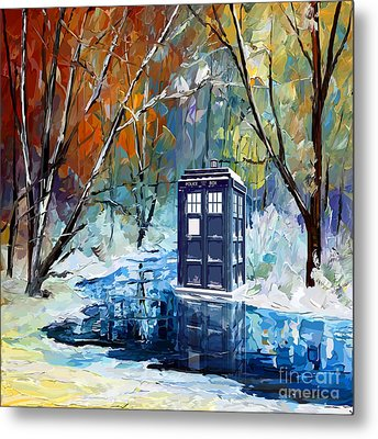 Winter Blue Phone Box Metal Print
