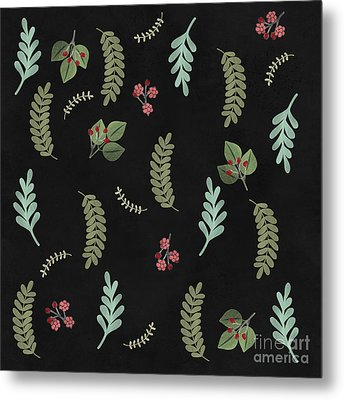 Winter Botanical Leaves, Berries, Nature Metal Print by Tina Lavoie