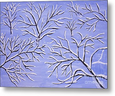 Winter Branches, Painting Metal Print