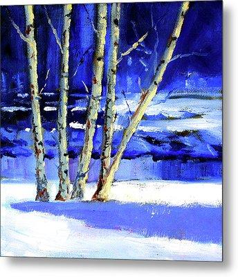 Winter By The River Metal Print by Nancy Merkle