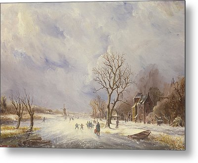 Winter Canal Scene Metal Print