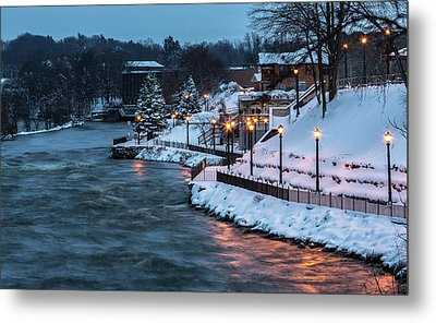 Winter Canal Walk Metal Print