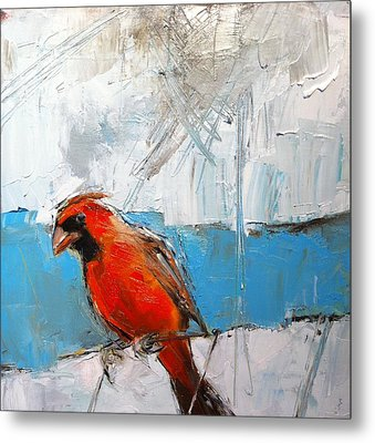 Winter Cardinal Metal Print by Claire Kayser