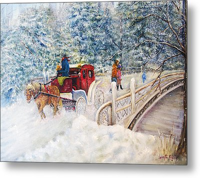 Winter Carriage In Central Park Metal Print