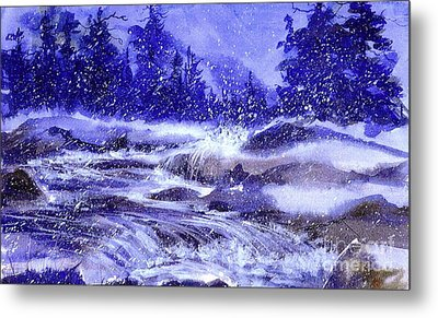 Winter Cascade Metal Print